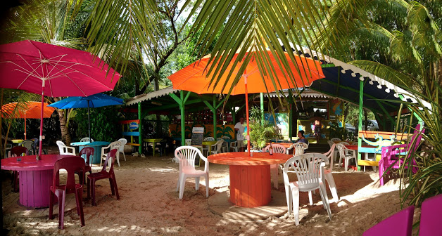 This is a photo of a beach restaurant in Martinique.