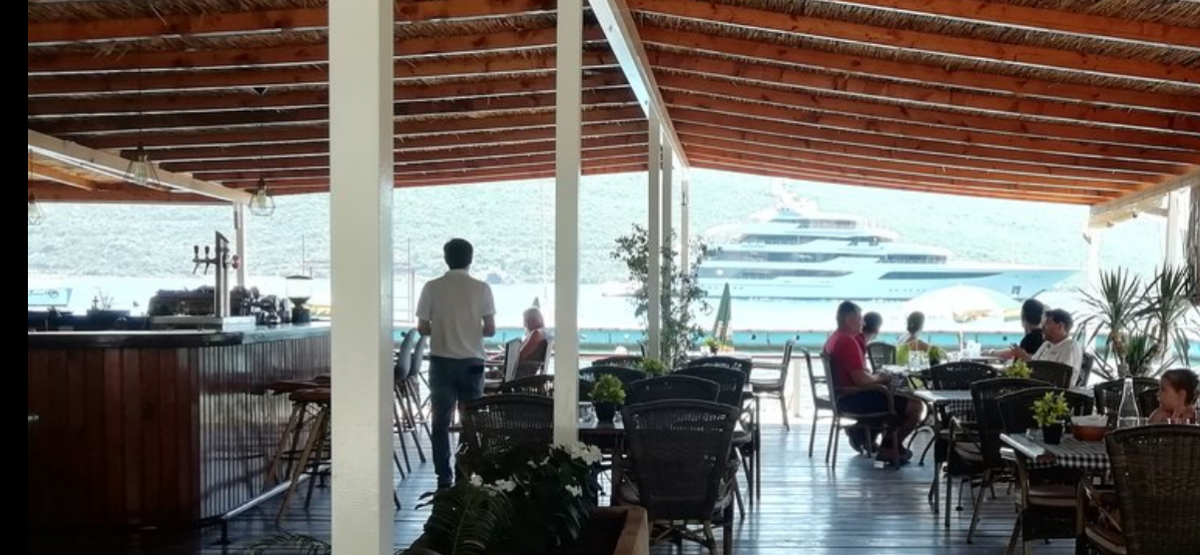 This is a photo of a seaside restaurant in Montenegro.